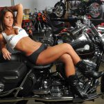 Great looking shop babe on a HD Road King