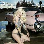 Tattooed Pinup Babe Pink Vintage Car