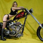 Hot babe on a cool custom chopper
