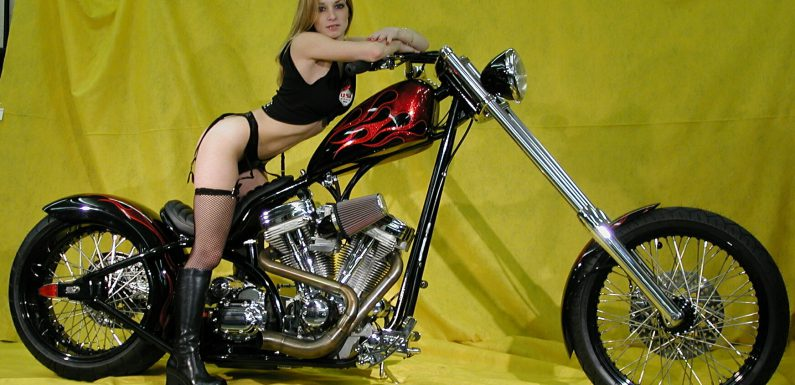 Hot babe on a cool custom chopper