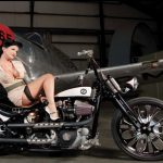 Hot Pinup Babe on a Cool Custom Bike