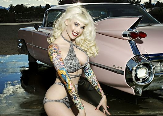 Tattooed Pinup Babe Pink Vintage Car