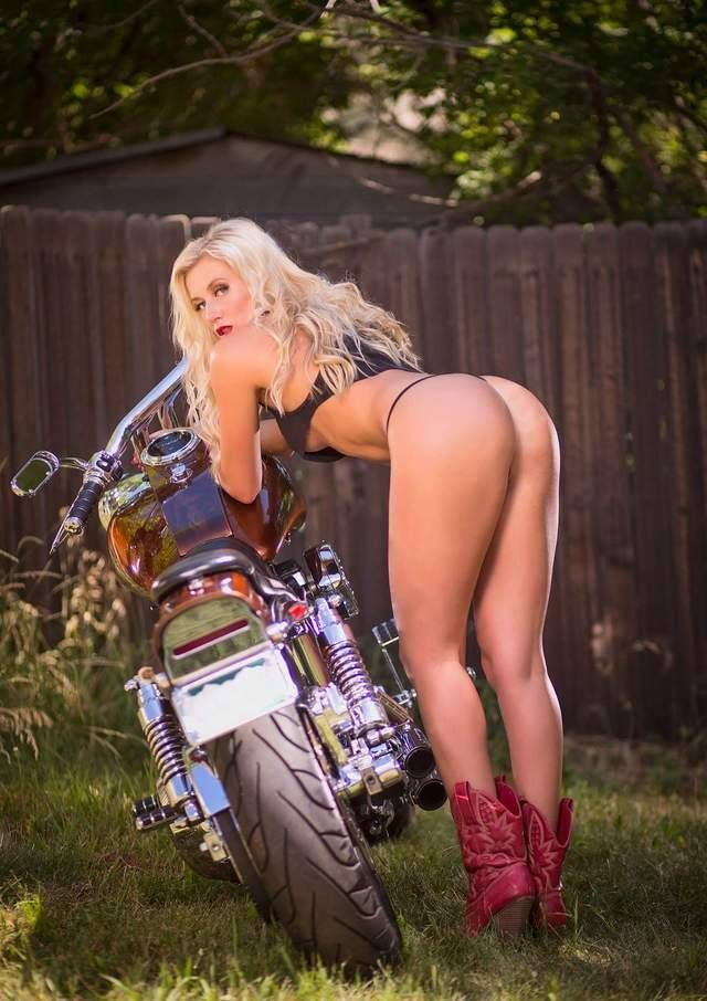 Biker Babe in Red Cowboy Boots